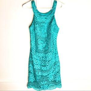 SUE WONG Sleeveless Dress Soutache Lace Embroider